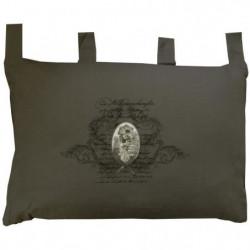 SOLEIL D'OCRE Tete de lit brodée Médaillon en coton - Gris