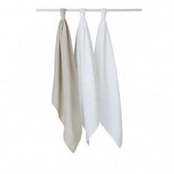 BABYCALIN Lot de 3 langes Etoile - Gris et blanc - 70 x 70 c