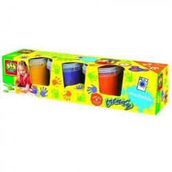 SES CREATIVE Lot de 4 pots de peinture a doigts Girly - 4 co