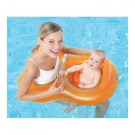 JANE Bouée Maman Bébé Gonflable Orange et Jaune