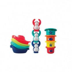 LUDI Coffret de bain: bateaux multicolores et petits singes