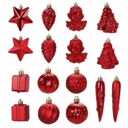 Kit de 16 décorations de Noël PVC - Ø 5 -8 cm - Rouge