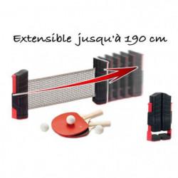CDTS Kit Ping pong poteaux et filet extensible - 2 raquettes
