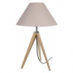IDUN Lampe a poser en bois naturel - Ø30 x H.56 cm - Abat-jo