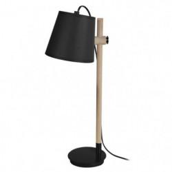 HARRI Lampe de bureau en métal et bois avec abat-jour tambou