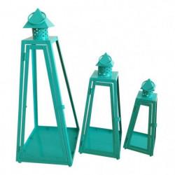 HOMEA Set de 3 lanternes pyramide en métal H30-40-55cm turqu