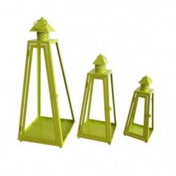 HOMEA Set de 3 lanternes pyramide en métal H30-40-55cm vert