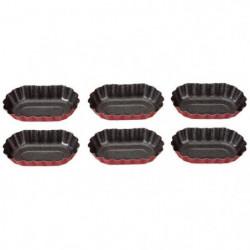 IMF Set de 6 moules ovales Rioja - 8 x 5 cm - Rouge et gris