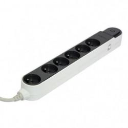 CHACON Bloc multiprise avec interrupteur 6 prises 16A 3m gri