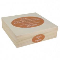 Boite à chocolat - Bois - 24 x 24 cm - Beige et marron