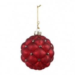 COTE TABLE Lot de 6 boules en verre résille rouge