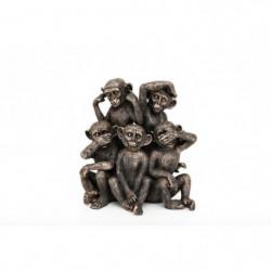 PM Groupe de 5 singes - 23 x 24 cm - Dorée