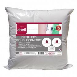 ABEIL Lot de 2 Oreillers DOUBLE CONFORT 100% Coton 60x60cm