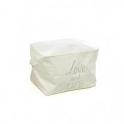 Box de rangement avec fermeture éclair + anses - 38 x 26 x 2