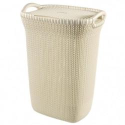 CURVER Coffre a linge 57 L - Aspect tricot - Blanc cassé - A