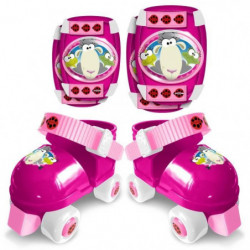STAMP Patins a Roulettes avec Coudieres/Genouilleres - Rose