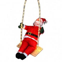 Personnage de Noël Pere Noël grimpeur sur balançoire lumineu