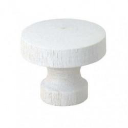 Lot de 2 boutons de meuble - Ø 30 mm - Bois laqué - Blanc