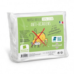 SWEETHOME Protege-oreiller 100% coton - Anti-acariens - 65x6