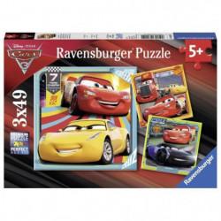 CARS Puzzle 3x49 pcs Prets course - Disney