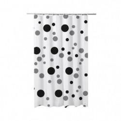 FRANDIS Rideau de douche en PVC pois gris et noir