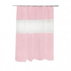 FRANDIS Rideau de douche Peva transparent rose et blanc