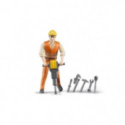 BRUDER - Figurine ouvrier avec accessoires de chantier - 10,