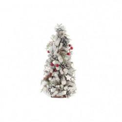 Arbre de Noël en bois - 19 x 38 cm - Tronc marron