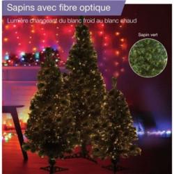 Sapin vert de Noël en PVC - H 60 cm - Fibre optique blanc ch