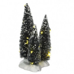 Décor de Noël 3 Sapins lumineux a piles - 9x9x19 cm - Vert -
