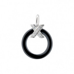 "CERALUXE - Pendentif ""My Crossed Ring Black"" Argent 925/1000"