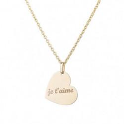 """LES BIJOUX D'EMMA Pendentif """"Je t'aime"""" monté sur collier do"""