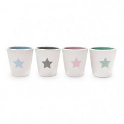 YOKO DESIGN Set de 4 tasses expresso Star en céramique blanc
