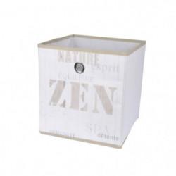 HOMEA Panier de rangement Zen Wood 26x26x26 cm blanc et beig