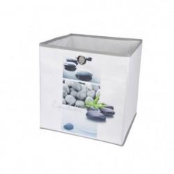 HOMEA Panier de rangement Stone 26x26x26 cm blanc et gris