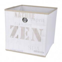 HOMEA Panier de rangement Zen Wood 31x29x31 cm blanc et beig