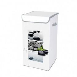 HOMEA Coffre a linge avec couvercle Stone 30x30x60 cm blanc