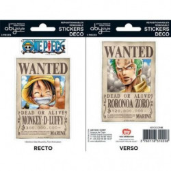 Stickers One Piece - 16x11cm  / 2 planches - Wanted Luffy /
