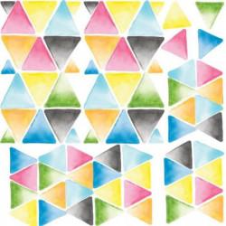ROOMMATES Lot de 76 stickers TRIANGLE AQUARELLE MULTICOLORE
