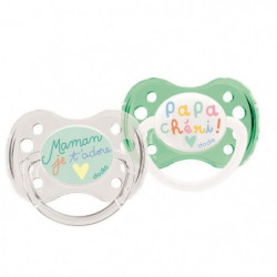 DODIE 2 Sucettes anatomiques Duo Papa Maman - 0-6 Mois - Sil