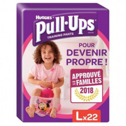 HUGGIES Pull Ups Economy Fille Taille 6 L - De 16 a 23 kg -