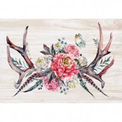 ARTIS Tableau déco Glassart Fleurs sur fond bois - Impressio