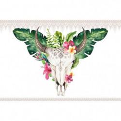 ARTIS Tableau déco Glassart Skull Floral - Impression sur ve