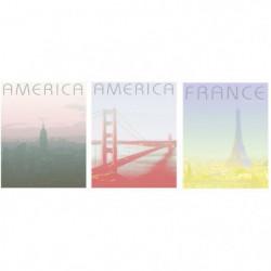 AMERICA Lot de 3 tableaux déco 20x25 cm Vert, rouge et jaune