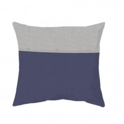 COTE DECO Taie d'Oreiller 100% coton lavé 65x65 cm - Bleu na