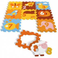 ANIMAUX - TAPIS PUZZLE MOUSSE DE 9 PIECES - TATAMIZ