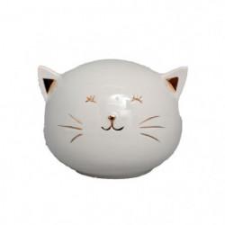 Tirelire chat - 8 x 9 cm - Blanc et doré