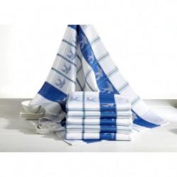 Lot de 6 torchons de cuisine Coralie hirondelles bleues 50x7