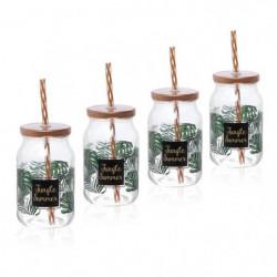 CERVE lot de 4 drinking jars avec paille 45 cl gamme Jungle