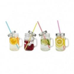 ARD'TIME Lot de 4 bocaux drinking jars en verre avec anse 45